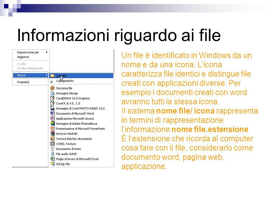 Informazioni riguardo ai file Un file è identificato in Windows da un nome e da una icona. Licona caratterizza file identici e distingue file creati c