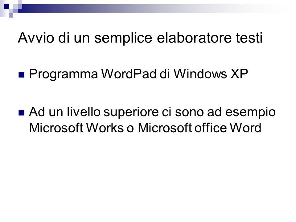Avvio di un semplice elaboratore testi Programma WordPad di Windows XP Ad un livello superiore ci sono ad esempio Microsoft Works o Microsoft office W