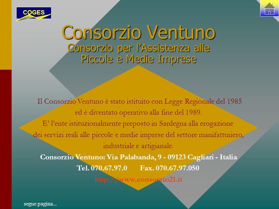 Consorzio Ventuno Consorzio per lAssistenza alle Piccole e Medie Imprese Il Consorzio Ventuno è stato istituito con Legge Regionale del 1985 ed è diventato operativo alla fine del 1989.