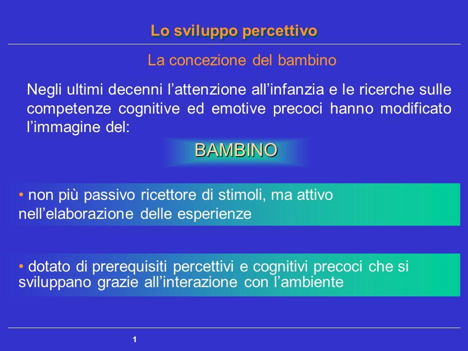 Lo sviluppo percettivo 1 Negli ultimi decenni lattenzione allinfanzia e le ricerche sulle competenze cognitive ed emotive precoci hanno modificato lim