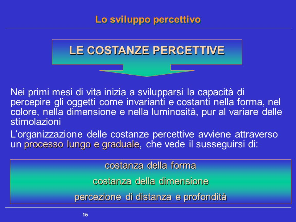 Lo sviluppo percettivo 15 LE COSTANZE PERCETTIVE Nei primi mesi di vita inizia a svilupparsi la capacità di percepire gli oggetti come invarianti e co