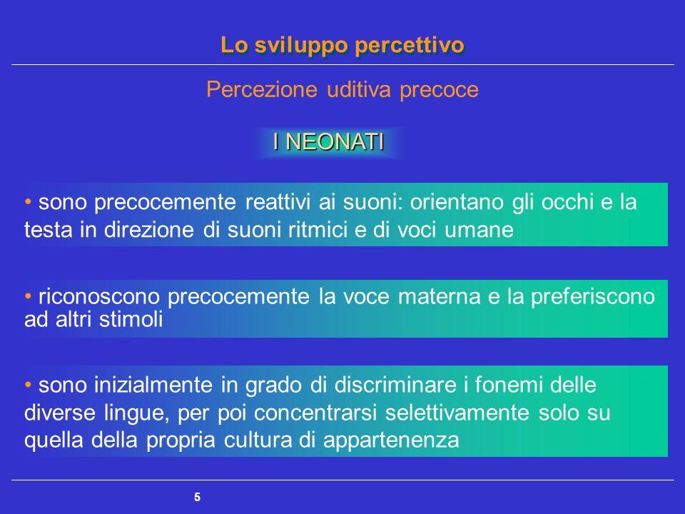 Lo sviluppo percettivo 5 Percezione uditiva precoce I NEONATI sono precocemente reattivi ai suoni: orientano gli occhi e la testa in direzione di suon