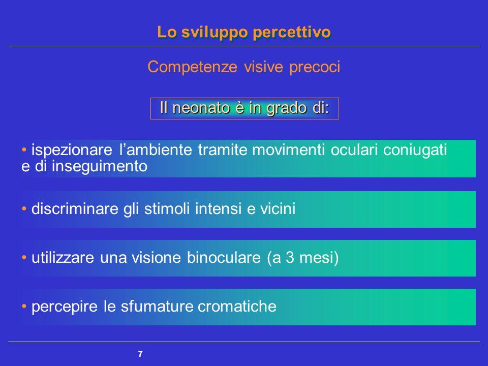 Lo sviluppo percettivo 7 Competenze visive precoci percepire le sfumature cromatiche Il neonato è in grado di: ispezionare lambiente tramite movimenti
