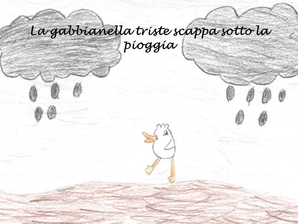 La gabbianella triste scappa sotto la pioggia