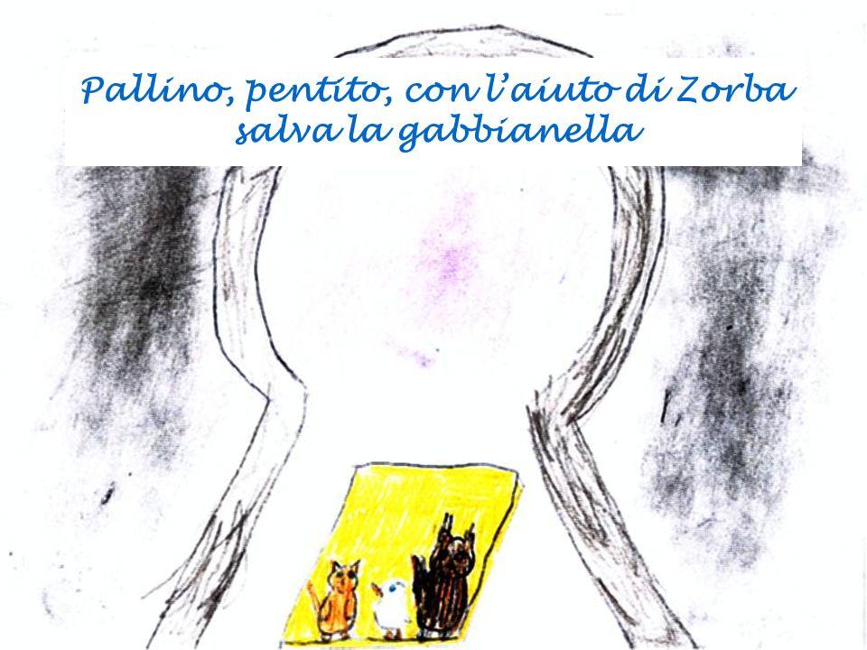 Pallino, pentito, con laiuto di Zorba salva la gabbianella