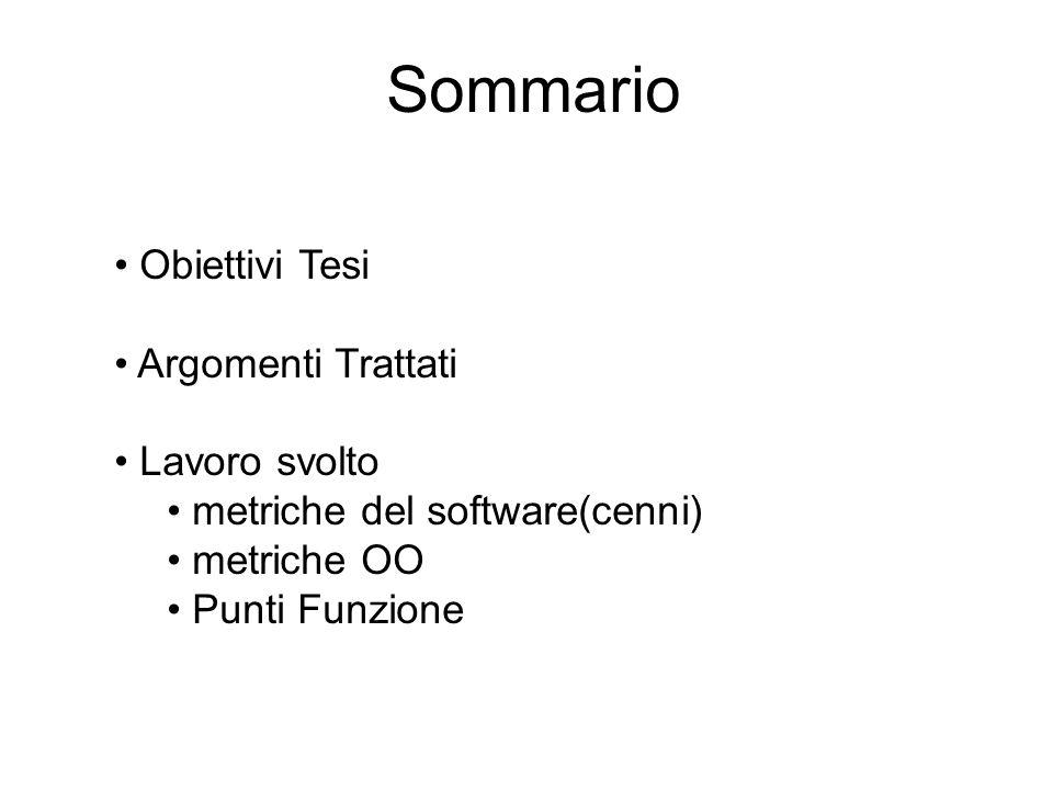 Sommario Obiettivi Tesi Argomenti Trattati Lavoro svolto metriche del software(cenni) metriche OO Punti Funzione