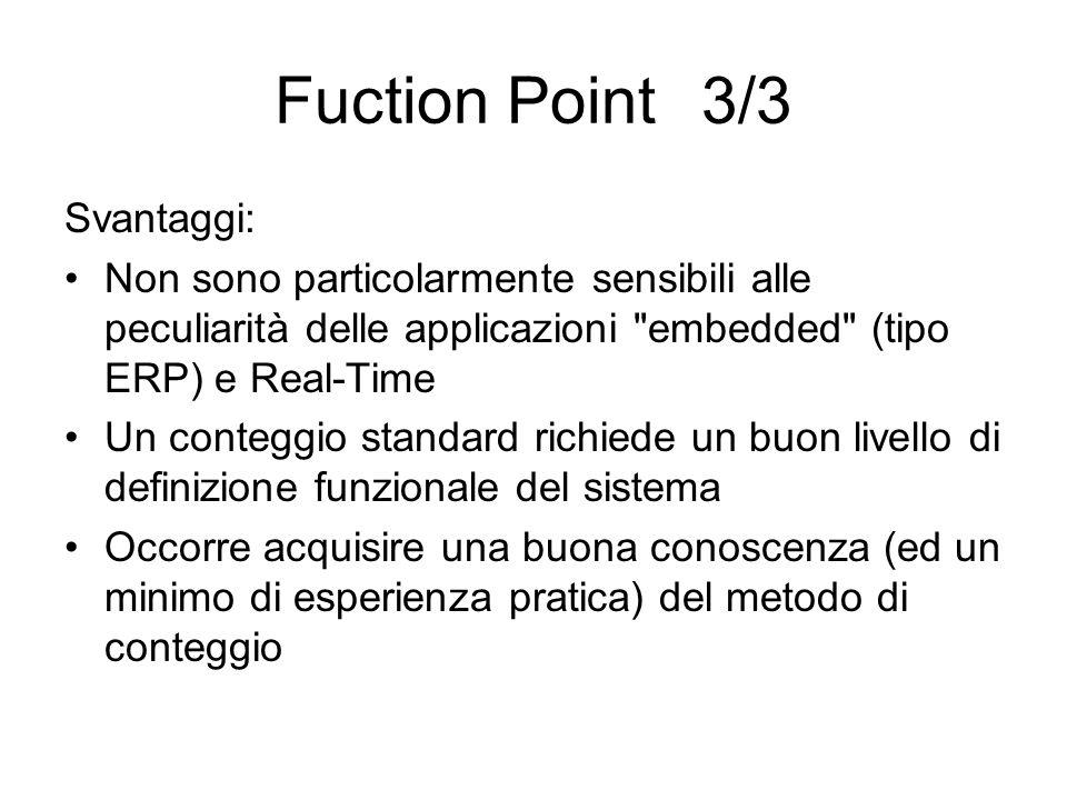 Fuction Point 3/3 Svantaggi: Non sono particolarmente sensibili alle peculiarità delle applicazioni
