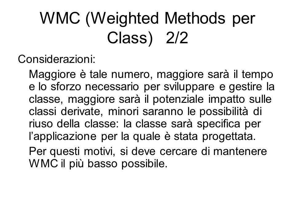 WMC (Weighted Methods per Class) 2/2 Considerazioni: Maggiore è tale numero, maggiore sarà il tempo e lo sforzo necessario per sviluppare e gestire la