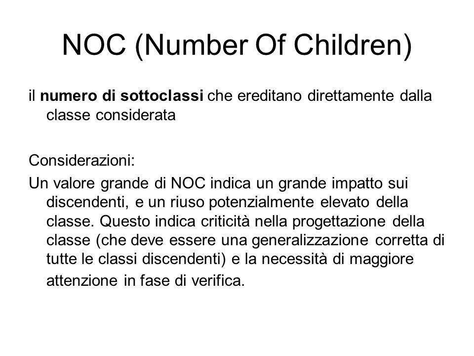 NOC (Number Of Children) il numero di sottoclassi che ereditano direttamente dalla classe considerata Considerazioni: Un valore grande di NOC indica u
