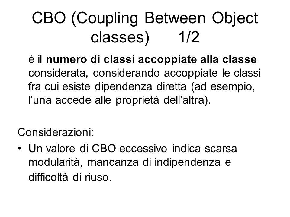 CBO (Coupling Between Object classes) 1/2 è il numero di classi accoppiate alla classe considerata, considerando accoppiate le classi fra cui esiste d