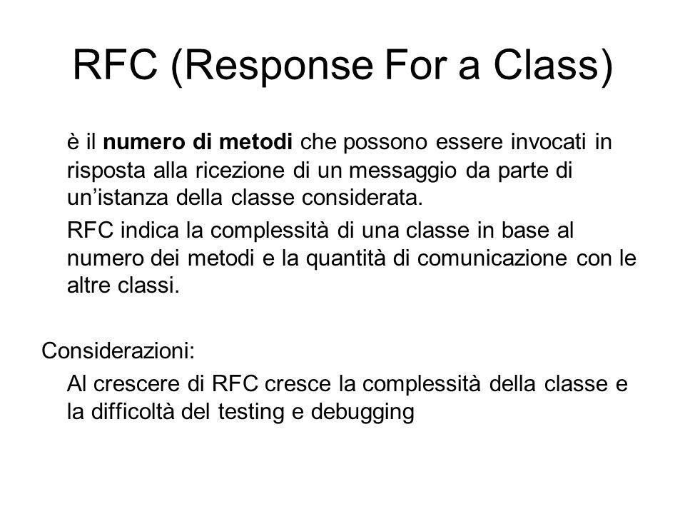 RFC (Response For a Class) è il numero di metodi che possono essere invocati in risposta alla ricezione di un messaggio da parte di unistanza della cl