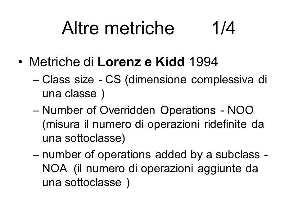 Altre metriche1/4 Metriche di Lorenz e Kidd 1994 –Class size - CS (dimensione complessiva di una classe ) –Number of Overridden Operations - NOO (misu