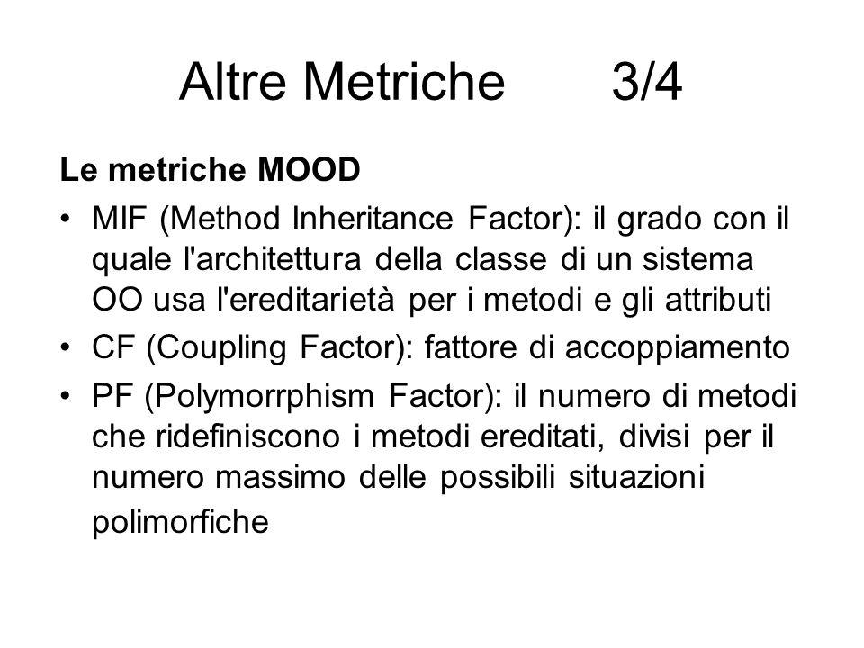 Altre Metriche 3/4 Le metriche MOOD MIF (Method Inheritance Factor): il grado con il quale l'architettura della classe di un sistema OO usa l'ereditar