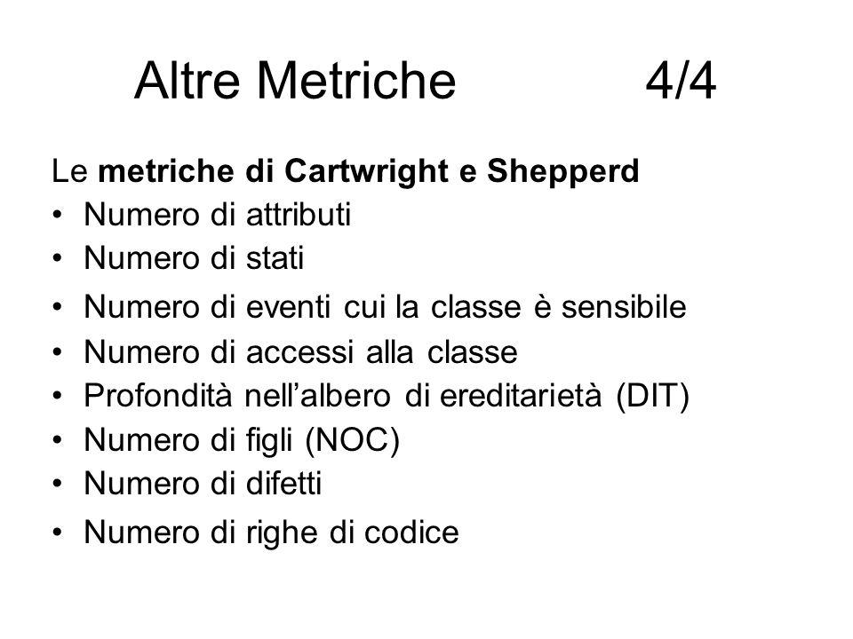 Altre Metriche 4/4 Le metriche di Cartwright e Shepperd Numero di attributi Numero di stati Numero di eventi cui la classe è sensibile Numero di acces