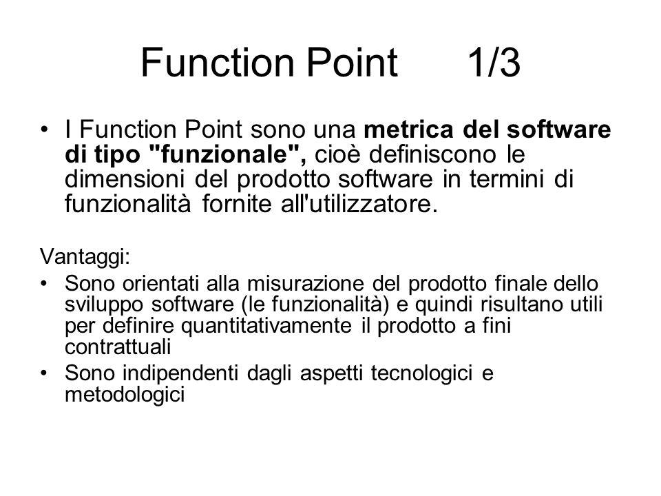 Function Point 2/3 Possono essere utilizzati già nelle fasi alte del processo di sviluppo del software, per effettuare stime e previsioni, ma anche per valutare la dimensione di un applicazione appena terminata o già in produzione.