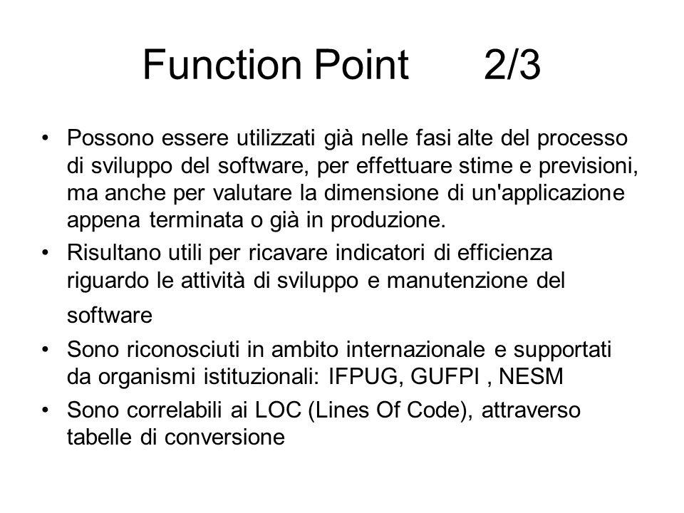 Function Point 2/3 Possono essere utilizzati già nelle fasi alte del processo di sviluppo del software, per effettuare stime e previsioni, ma anche pe