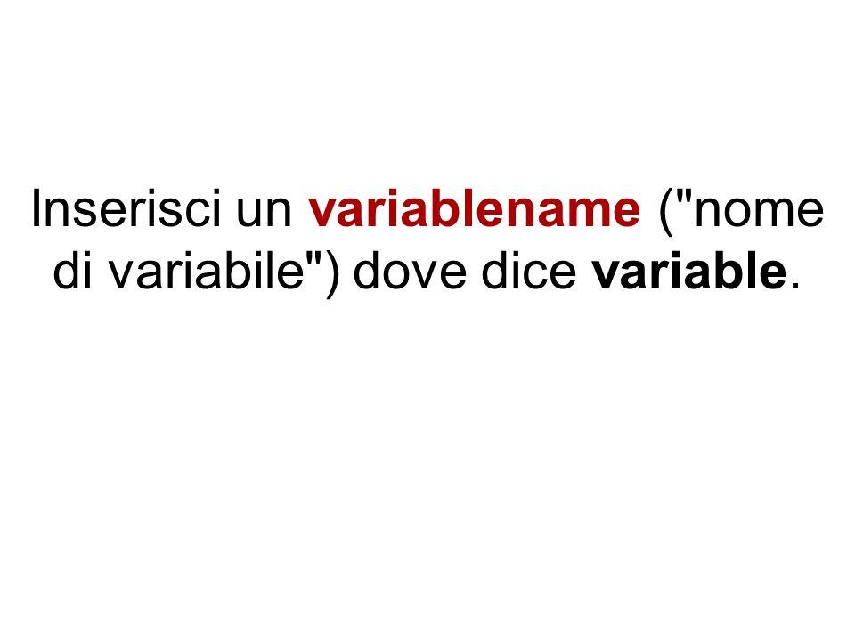 Inserisci il valore di partenza del loop dove dice startvalue.