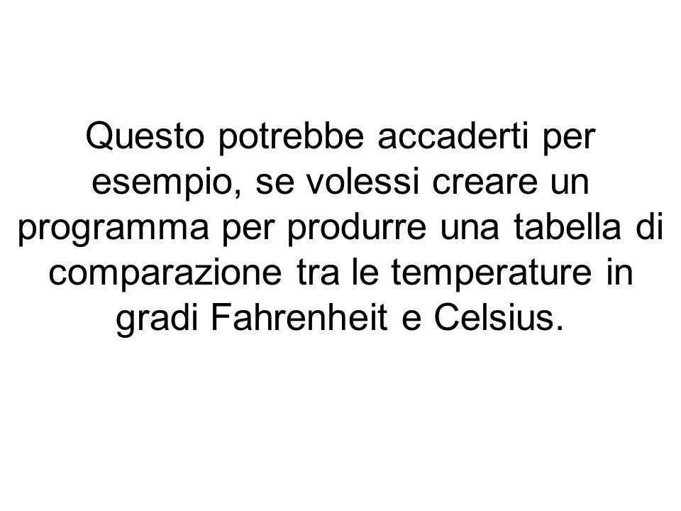 Il programma dovrebbe quindi produrre una tabella di 50 righe dove vengono mostrate diverse temperature secondo le due scale.