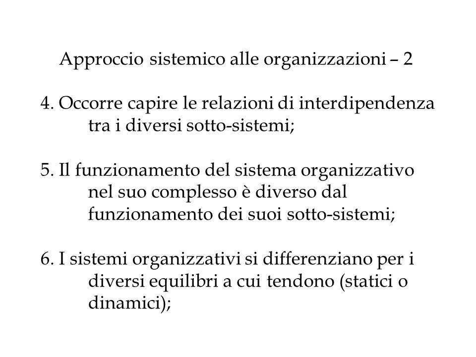 Approccio sistemico alle organizzazioni – 2 4. Occorre capire le relazioni di interdipendenza tra i diversi sotto-sistemi; 5. Il funzionamento del sis
