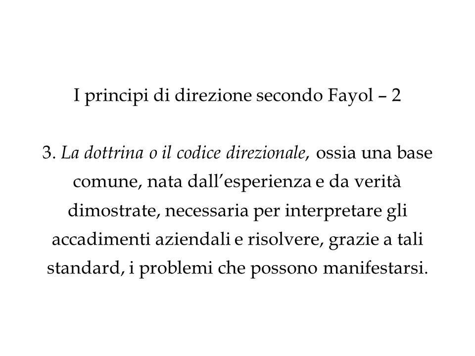 I principi di direzione secondo Fayol – considerazioni 1.