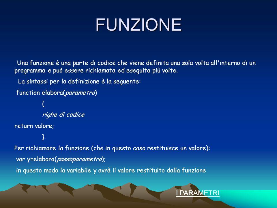 FUNZIONE Una funzione è una parte di codice che viene definita una sola volta all interno di un programma e può essere richiamata ed eseguita più volte.