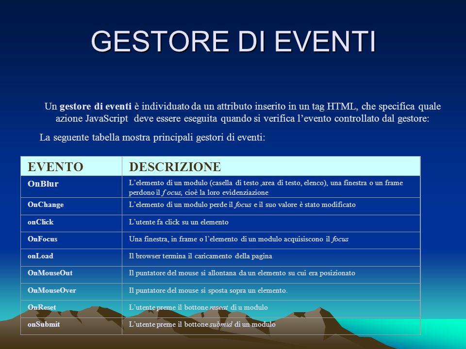 GESTORE DI EVENTI Un gestore di eventi è individuato da un attributo inserito in un tag HTML, che specifica quale azione JavaScript deve essere esegui