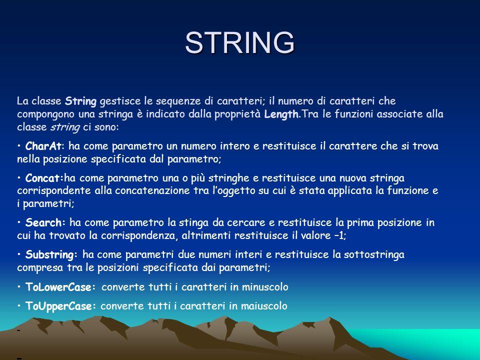 STRING La classe String gestisce le sequenze di caratteri; il numero di caratteri che compongono una stringa è indicato dalla proprietà Length.Tra le