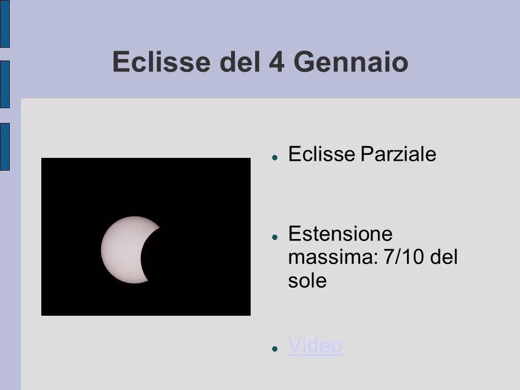 Eclisse del 4 Gennaio Eclisse Parziale Estensione massima: 7/10 del sole Video