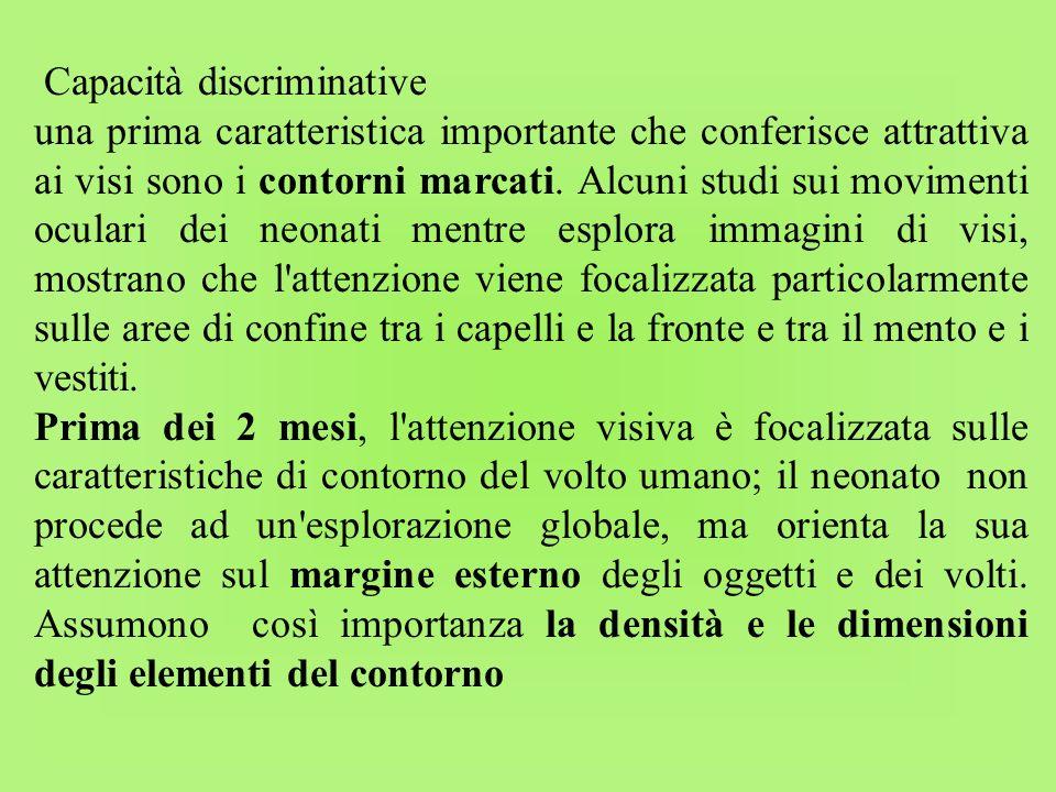 Capacità discriminative una prima caratteristica importante che conferisce attrattiva ai visi sono i contorni marcati. Alcuni studi sui movimenti ocul