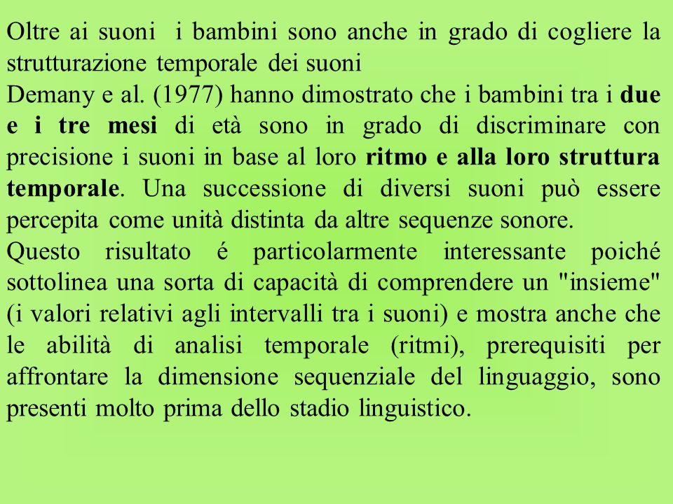 Oltre ai suoni i bambini sono anche in grado di cogliere la strutturazione temporale dei suoni Demany e al. (1977) hanno dimostrato che i bambini tra