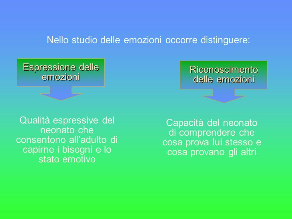 Nello studio delle emozioni occorre distinguere: Espressione delle emozioni Riconoscimento delle emozioni Qualità espressive del neonato che consenton