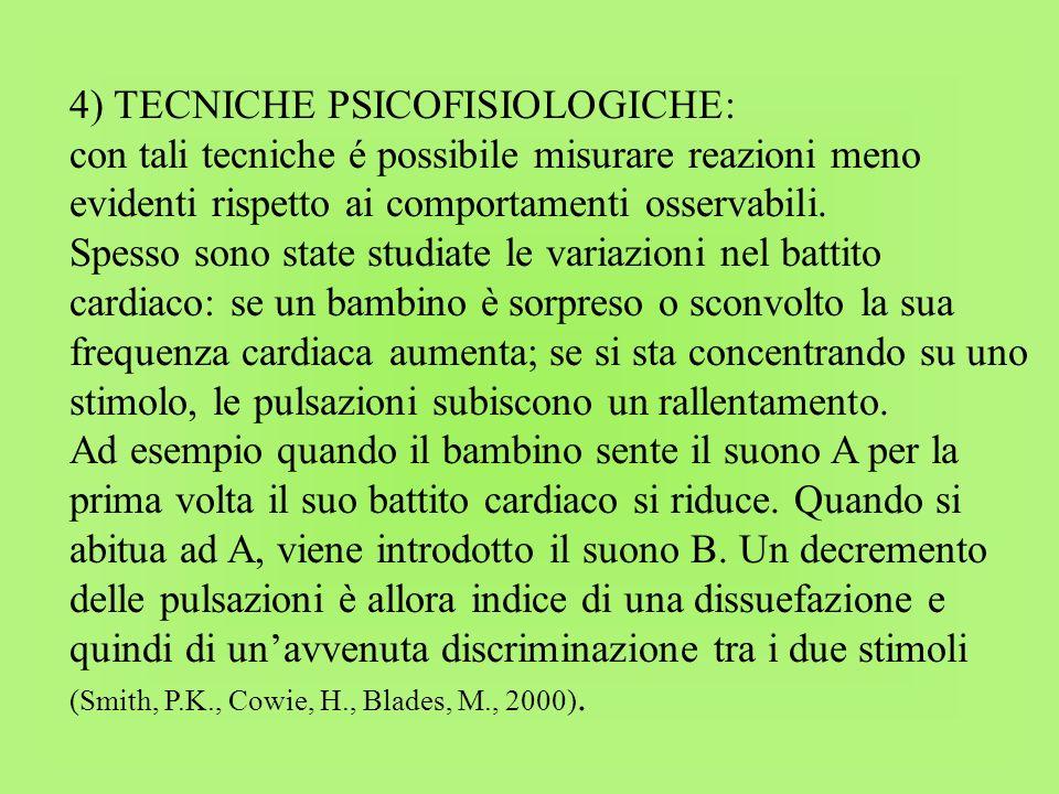 4) TECNICHE PSICOFISIOLOGICHE: con tali tecniche é possibile misurare reazioni meno evidenti rispetto ai comportamenti osservabili. Spesso sono state