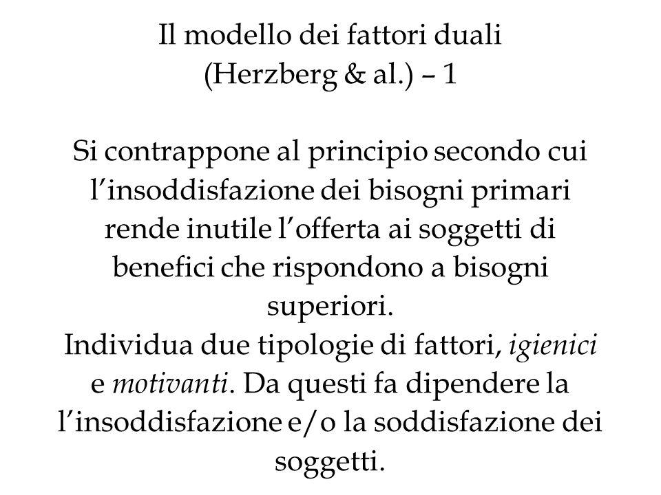 Il modello dei fattori duali (Herzberg & al.) – 1 Si contrappone al principio secondo cui linsoddisfazione dei bisogni primari rende inutile lofferta