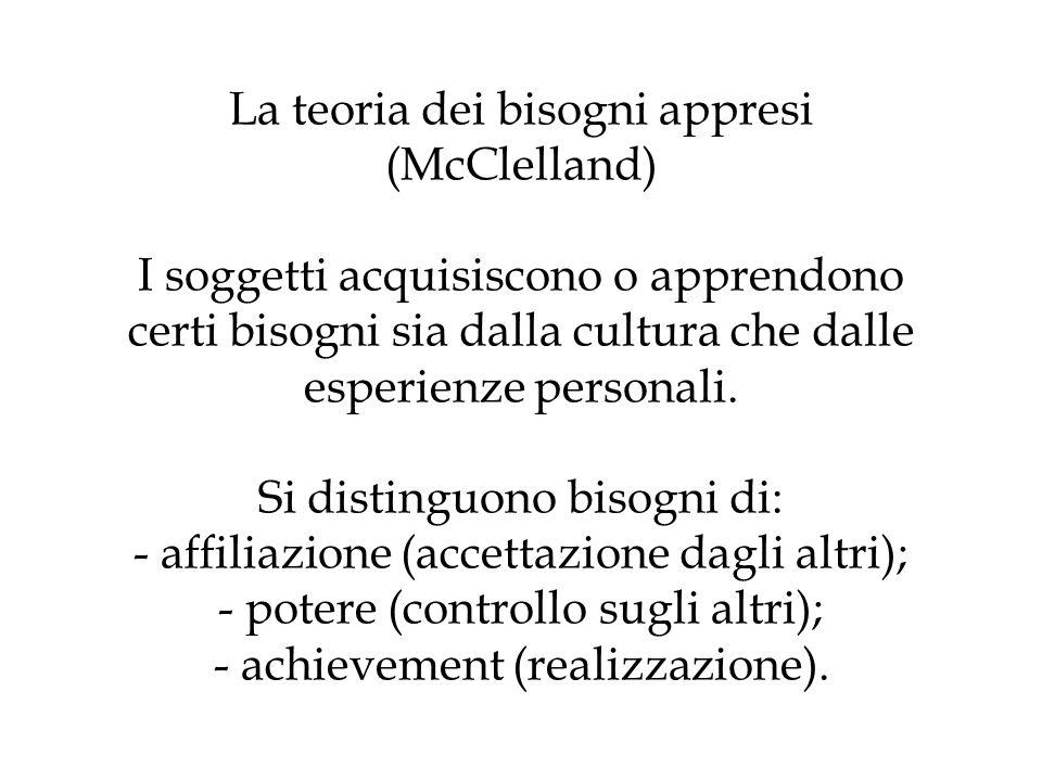 La teoria dei bisogni appresi (McClelland) I soggetti acquisiscono o apprendono certi bisogni sia dalla cultura che dalle esperienze personali. Si dis