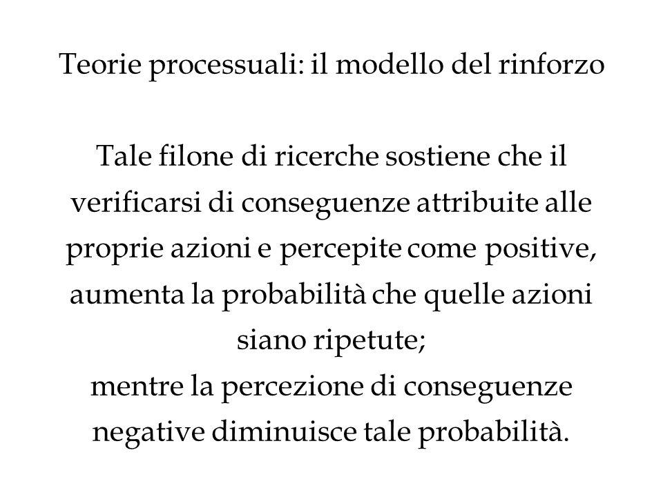 Teorie processuali: il modello del rinforzo Tale filone di ricerche sostiene che il verificarsi di conseguenze attribuite alle proprie azioni e percep