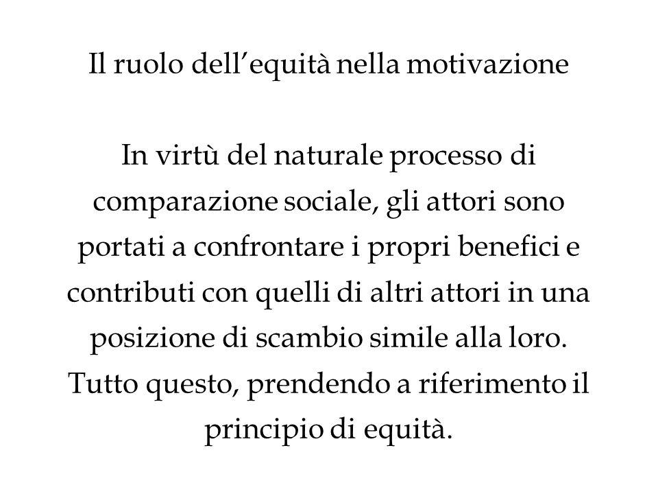 Il ruolo dellequità nella motivazione In virtù del naturale processo di comparazione sociale, gli attori sono portati a confrontare i propri benefici