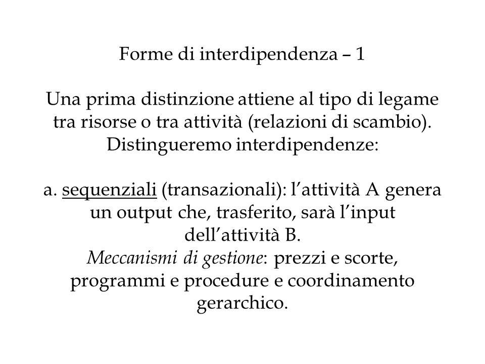 Forme di interdipendenza – 1 Una prima distinzione attiene al tipo di legame tra risorse o tra attività (relazioni di scambio). Distingueremo interdip