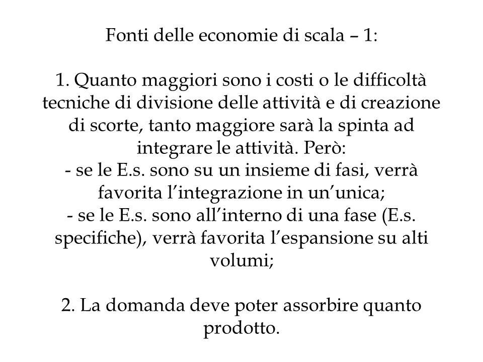 Fonti delle economie di scala – 1: 1. Quanto maggiori sono i costi o le difficoltà tecniche di divisione delle attività e di creazione di scorte, tant