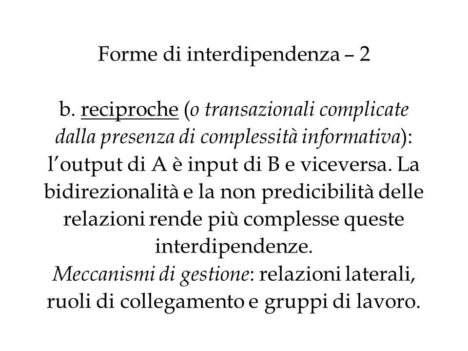 Forme di interdipendenza – 3 Una seconda distinzione attiene allunione di sforzi richiesta, allallineamento di comportamenti e allazione comune (interdipendenze cooperative, Thompson).