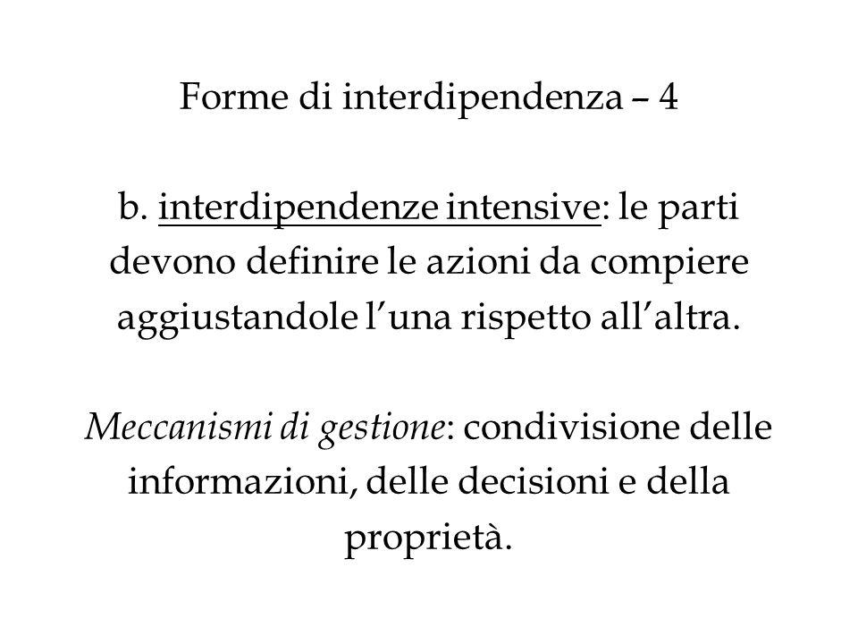 Forme di interdipendenza – 4 b. interdipendenze intensive: le parti devono definire le azioni da compiere aggiustandole luna rispetto allaltra. Meccan