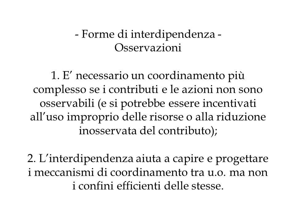 - Forme di interdipendenza - Osservazioni 1. E necessario un coordinamento più complesso se i contributi e le azioni non sono osservabili (e si potreb