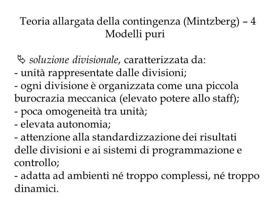 Teoria allargata della contingenza (Mintzberg) – 4 Modelli puri soluzione divisionale, caratterizzata da: - unità rappresentate dalle divisioni; - ogn