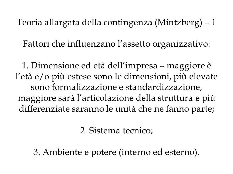 Teoria allargata della contingenza (Mintzberg) – 1 Fattori che influenzano lassetto organizzativo: 1. Dimensione ed età dellimpresa – maggiore è letà