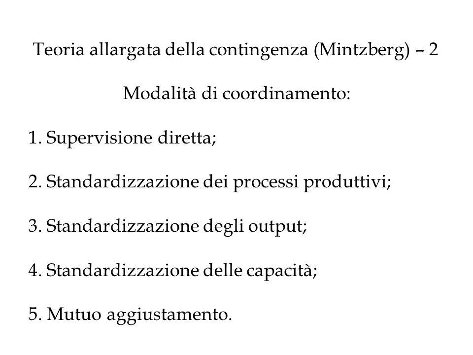 Teoria allargata della contingenza (Mintzberg) – 2 Modalità di coordinamento: 1. Supervisione diretta; 2. Standardizzazione dei processi produttivi; 3