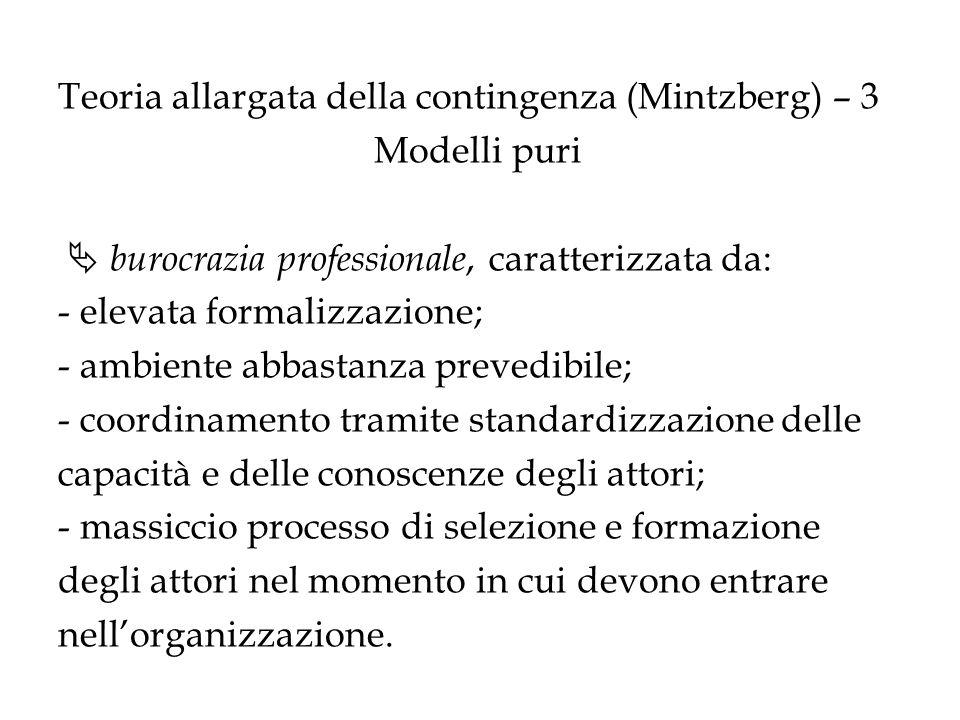 Teoria allargata della contingenza (Mintzberg) – 3 Modelli puri burocrazia professionale, caratterizzata da: - elevata formalizzazione; - ambiente abb
