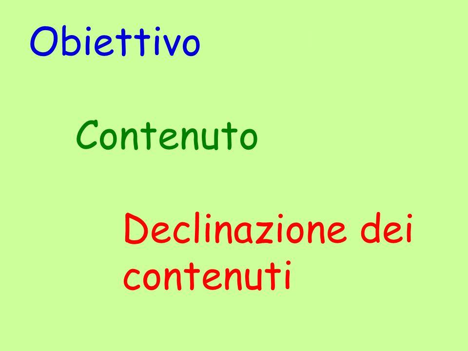 Obiettivo Contenuto Declinazione dei contenuti legenda
