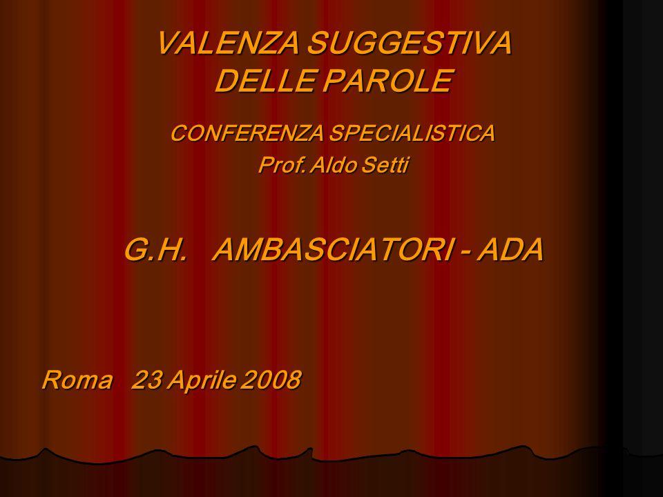 VALENZA SUGGESTIVA DELLE PAROLE CONFERENZA SPECIALISTICA Prof. Aldo Setti G.H. AMBASCIATORI - ADA Roma 23 Aprile 2008