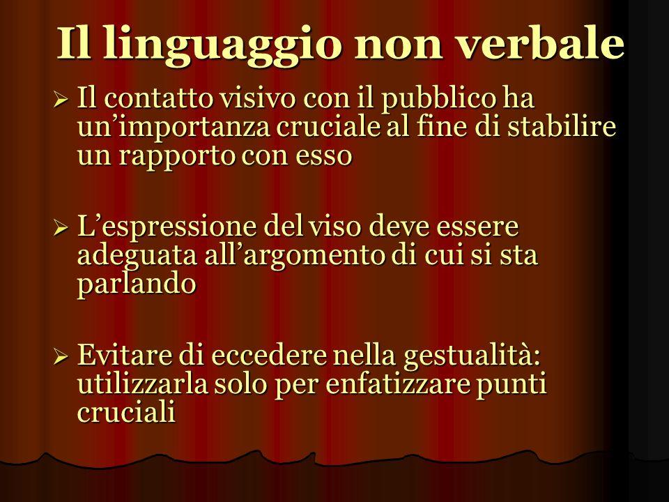 Il linguaggio non verbale Il contatto visivo con il pubblico ha unimportanza cruciale al fine di stabilire un rapporto con esso Il contatto visivo con