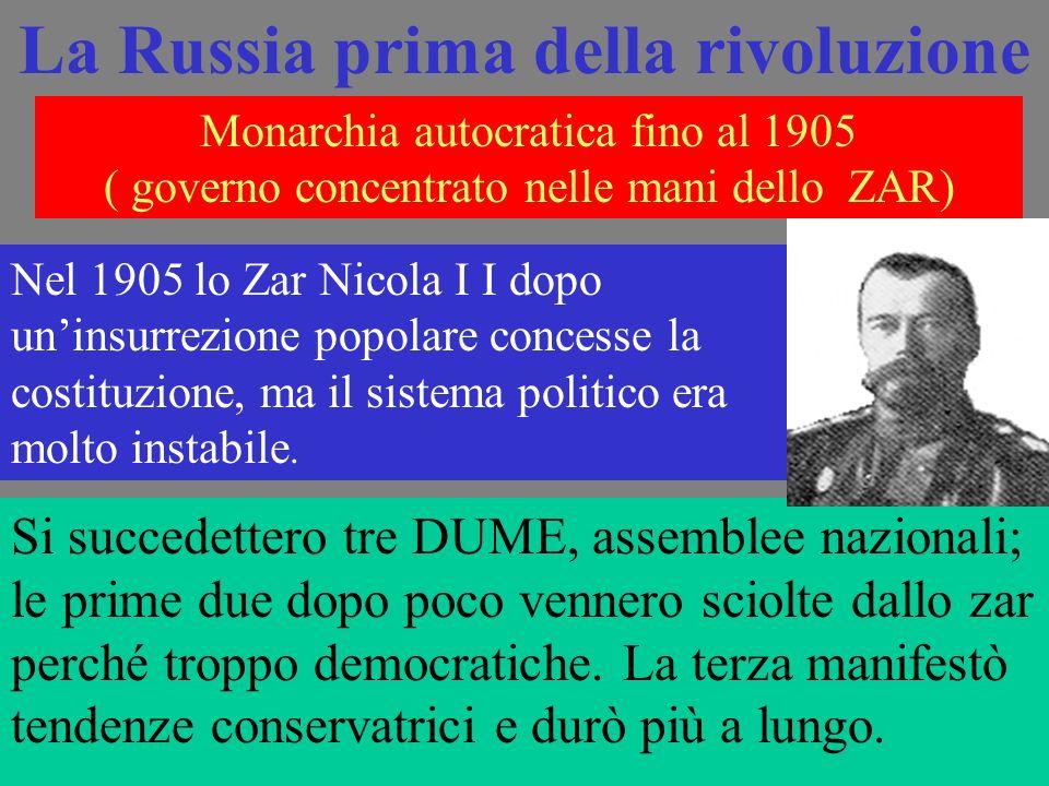 Monarchia autocratica fino al 1905 ( governo concentrato nelle mani dello ZAR) Nel 1905 lo Zar Nicola I I dopo uninsurrezione popolare concesse la costituzione, ma il sistema politico era molto instabile.