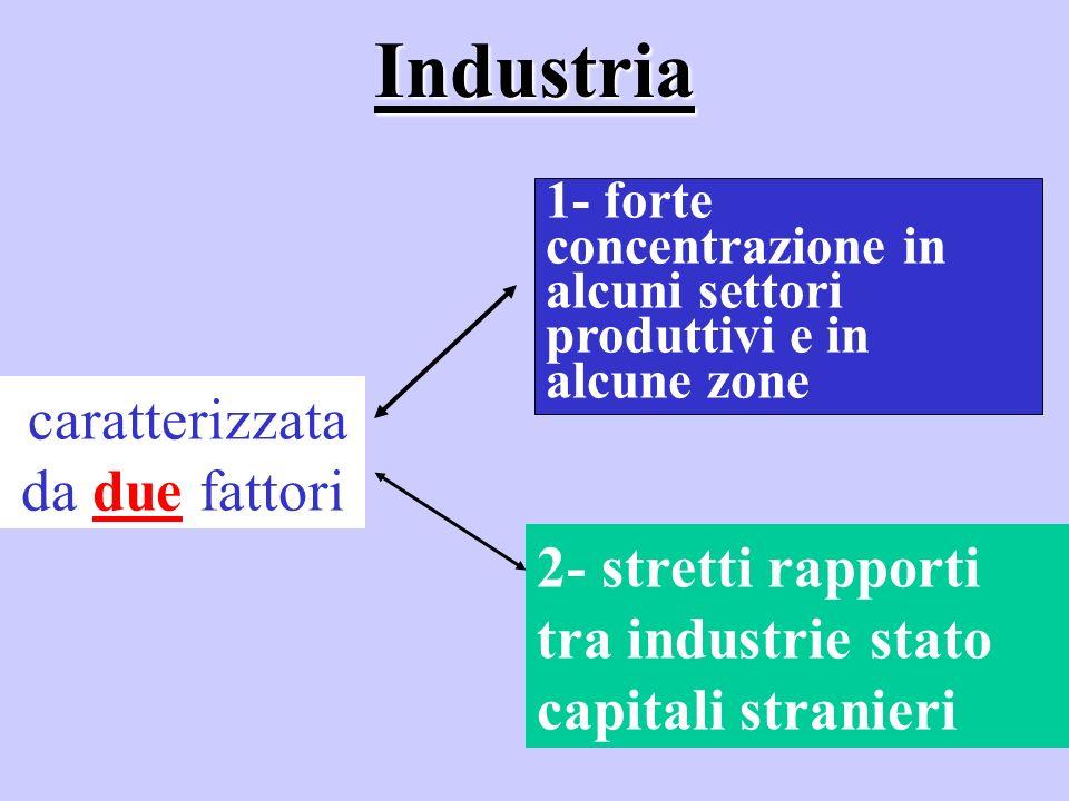 Industria caratterizzata da due fattori 1- forte concentrazione in alcuni settori produttivi e in alcune zone 2- stretti rapporti tra industrie stato capitali stranieri
